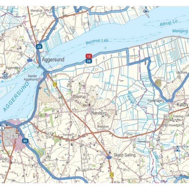 Sykkelkart Danmark 6 8 Vest Jylland Og Limfjorden Kart Og Boker
